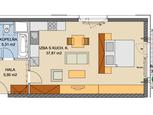 Rozľahlý 1-izbový štartovací byt s balkónom (0804.A)