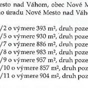 Predám šesť stavebných v obci Nové Mesto nad Váhom