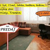 Priestranný 3+1 byt, 72m2, 2.p./2, balkón, lódžia, Noviny, Trenčín