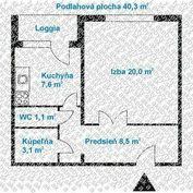 Veľký 1 izbový byt s loggiou s možnosťou prerobenia na 2 izbový, pri Vrakunského lesíka