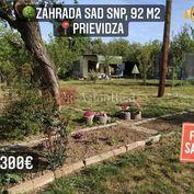 Predaj: záhrada 92 m2, Prievidza - Staré Sídlisko - SAD SNP