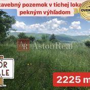 PREDAJ: Stavebný pozemok- 2225 m2 v tichej lokalite s pekným výhľadom