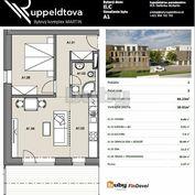 Byty Ruppeldtova: Na predaj 2 izbový byt v novostavbe s terasou a predzáhradkou 27 m2 , Martin - šir
