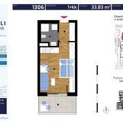 1 izb. byt 33,83 m2 v NOVOSTAVBE ALBELLI v cene PP