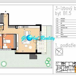 Novostavba 3 izbový byt Beluša, 100,51 m2, predzáhradka 102,21 m2.
