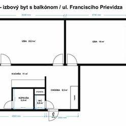 Prenájom 2-izbového bytu, lóggia, ul.Francisciho v dobrej lokalite sídl. Zapotôčky, Prievidza