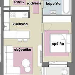Priestranný 2 izbový byt so šatníkom v tehlovej novostavbe