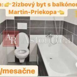 Prenájom : 2 - izbový byt 40 m2 v Martine Priekope s Balkónom