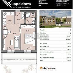 Byty Ruppeldtova: Na predaj 2 izbový byt B1 v novostavbe s terasou a predzáhradkou 26 m2 , Martin -