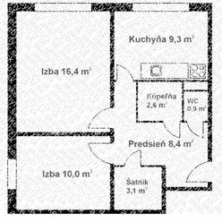 Pekný 2-i byt terasa Košice zapad