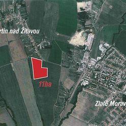 Krásne pozemky  o výmere 11 ha pre rodinné domy len 25 km od Nitry.