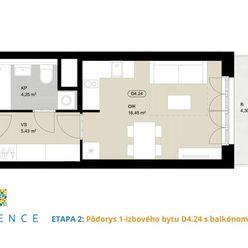 Kamence Etapa 2: 1-izbový byt s balkónom v cene už od 69 300 €!