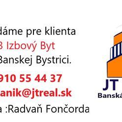 Hľadáme pre klientov 3 izbový byt v Banskej Bystrici