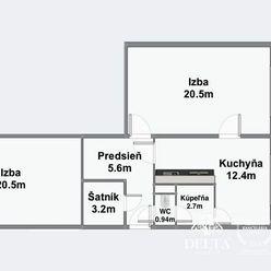 DELTA | Priestranný 2 izbový byt v pôvodnom stave, Ružinov - Pošeň