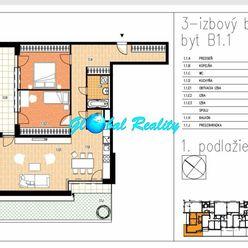 Novostavba 3 izbový byt Beluša, 104,57 m2, terasa,  predzáhradka 33,18m2.