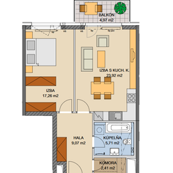 Vzdušný 2 izbový byt na 5.poschodí s balkónom (0509A.B)