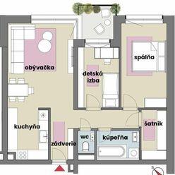 Veľkometrážny 3 izbový byt so šatníkom v tehlovej novostavbe v novovybudovanej lokalite
