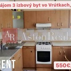 Prenájom: 3 izbový byt vo Vrútkach s rozlohou 86m2, 550€/mesačne