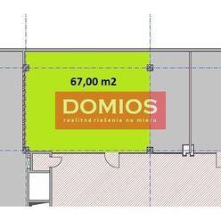 Prenájom klim. obchod. priestorov (67 m2, príz., výklad, WC, parking)