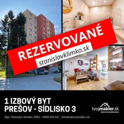 1 izbový byt | Prešov - Prostějovská ulica
