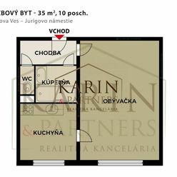 NEZARIADENÝ 1 izbový byt, 35 m2, Karlova Ves - Jurigovo nám.