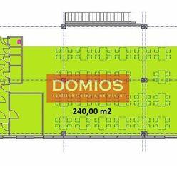 Prenájom klim. obchod. priestorov (240 m2, 1. p., výklad, WC, parking)