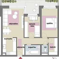 Veľkometrážny 3 izbový byt so šatníkom tehlovej novostavbe uprostred rodinných domov