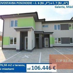 KVALITNÁ NOVOSTAVBA POSCHODIE - 3 izbový byt 76,58 m2 s terasou, 2 parkovacími miestami. Galanta, Ml