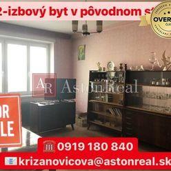 REZERVOVANÉ: 2-izbový byt v pôvodnom stave v centre Púchova