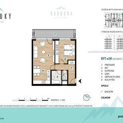 2 izbový byt s veľkým balkónom a výhľadom na Vysoké Tatry (M3H)