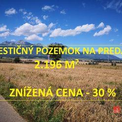 Investičný pozemok na predaj v lokalite  Poprad Veľká - Turnička