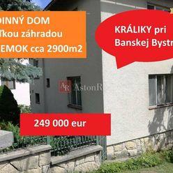 PREDAJ Rodinný dom, pozemok cca 2900m2, KRÁLIKY pri Banskej Bystrici