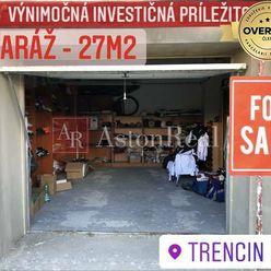 NA PREDAJ: Priestranná garáž vo vyhľadávanej lokalite Trenčín- 27m2