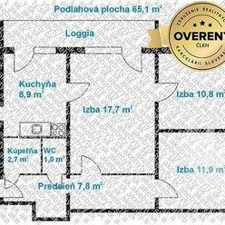 Na predaj 3i byt s loggiou,  Bratislava - Karlova Ves, Púpavová ul.