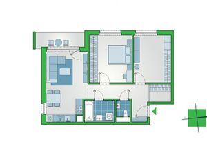 2-izbový byt s priestranným šatníkom a výhľadom z najvyššieho podlažia 4. etapy projektu NUPPU.
