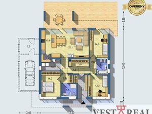 Na predaj 4 izbová novostavba rodinného domu, 745m2, Zvončín