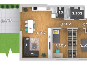 3i byty v ŠTANDARDE s klimatizáciou, predzáhradka/terasa/balkón, priamo od developer