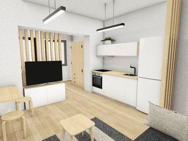 Na predaj projekt prestavby 4 izbového bytu na 3 priestory (bytové jednotky)