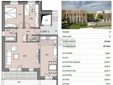 Byty Ruppeldtova: Na predaj veľký 3 izbový byt J4 s terasou v novostavbe, Martin - širšie centrum