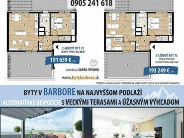 3 izbový byt s dvomi terasami a výhľadom na Vysoké Tatry