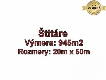 DOLNÉ ŠTITÁRE, pozemok 945 m2, vhodný na výstavbu domu, okr. Nitra