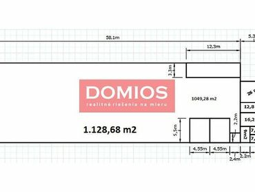 Prenájom obchodnej haly (1.128,68 m2, kancel, vykur., rampa, parking, KE-Juh)