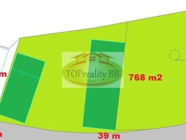 Slnečný pozemok  768 m2 s domom,  17 km od B. Bystrice - cena 42 000€
