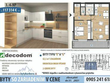 6.Poschodie bytový dom BARBORA 2 izbový byt so zariadením v cene!!AKCIA.