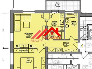 Kuchárek-real: Novostavba 2-izbového bytu v Pezinku na Muškáte D6-103.