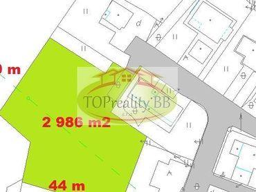Veľký stavebný pozemok 2 986 m2,  pri B. Bystrici -  Cena 78 000 €