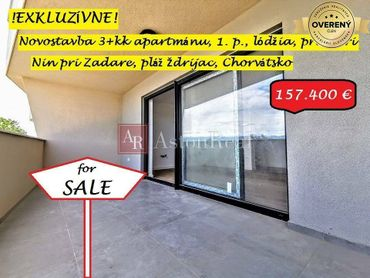 3-izb. apartmán pri mori, 66,70m2, 1. poschodie, Nin, Chorvátsko