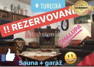 REZERVOVANÉ: CHALUPA, dom v Tureckej s garážou, saunou, 2x krb