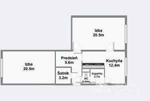 DELTA   Priestranný 2 izbový byt v pôvodnom stave, Ružinov - Pošeň